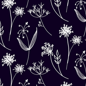 Lined Botanicals on Navy