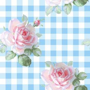 Seaside Garden Roses Gingham neptune
