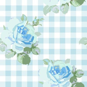 Seaside Garden Roses Gingham aqua
