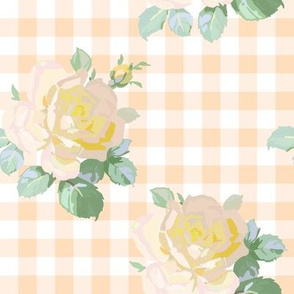 Seaside Garden Roses Gingham citrus