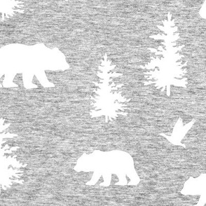 Great Northern Bear (heather light gray) Home Decor Bedding, GingerLous