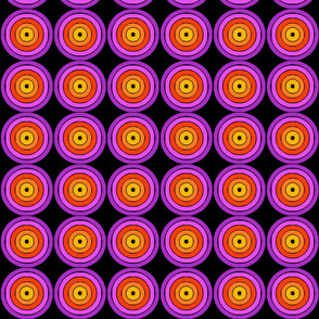 Retro Circles - Purple on Black
