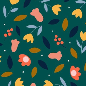Bold colorful flowers on dark green