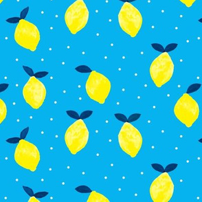 lemons - bright blue - watercolor summer - LAD19