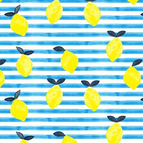 lemons - bright blue  stripes - watercolor summer - LAD19