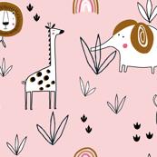 Jungle animals safari pink