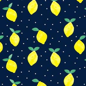 lemons - navy - watercolor summer - LAD19
