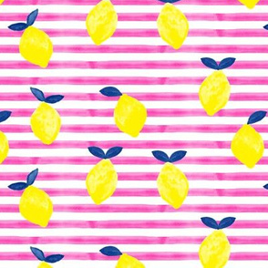 lemons - bright pink stripes - watercolor summer - LAD19