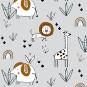 Safari jungle elephant lion giraffe grey