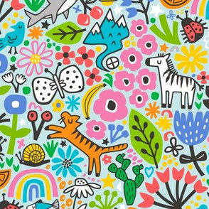 Floral Flowers & Animals Doodle on Light Blue