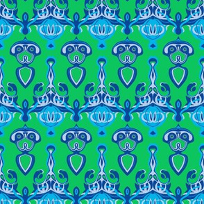 HP9  - Hovering Alien Puppies in Purple, Lavender-Grey and Aqua on Green