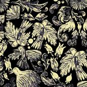 folk art birds cream on black