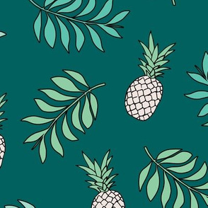 Pineapple paradise island vibes fruit and botanical leaves summer surf teal ocean green boys JUMBO