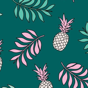 Pineapple paradise island vibes fruit and botanical leaves summer surf teal ocean green pink girls JUMBO