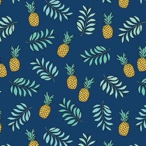 Pineapple paradise island vibes fruit and botanical leaves summer surf navy blue boys JUMBO
