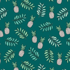 Pineapple paradise island vibes fruit and botanical leaves summer surf teal ocean green boys