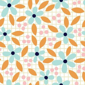 Pastel flowers on grid background.