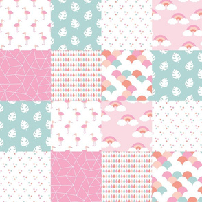 Cute flamingo rainbows and summer botanical leaves baby blanket pink peach blue girls