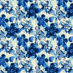 Shibori Inspired Indigo Floral - bright blue version
