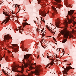 Oversized Textured Floral in Coral, Burgundy Red and Blush Pink