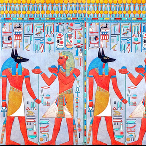 Anubis God ancient egypt egyptian king pharaoh death jackal dead afterlife hieroglyphics tribal offerings blue orange brown Horus eyes scarab beetle birds Ankh