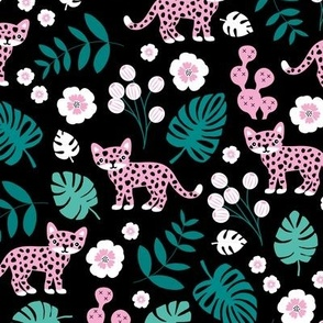 Sweet little wild cat tiger jungle botanical monstera palm leaves and flowers summer black green pink girls