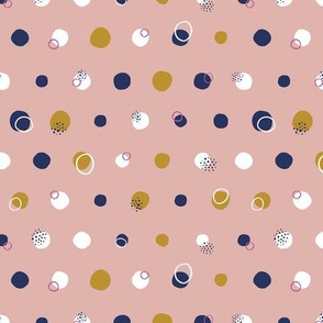 Pink and Navy Polka Dots
