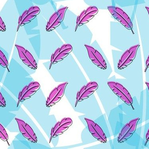 Blue and pink feathers