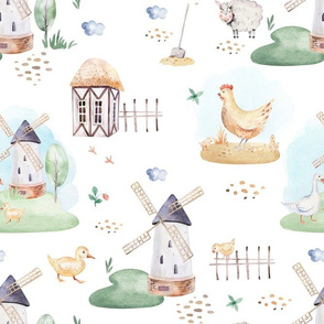 Watercolor farm animals 1
