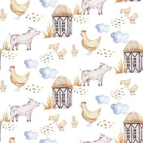 Watercolor farm animals 2