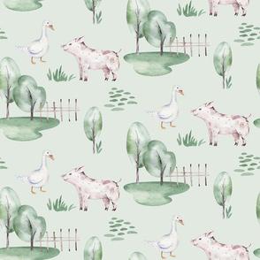 Watercolor farm animals 10