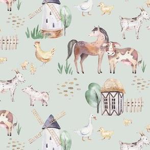 Watercolor scandinavian farm animals