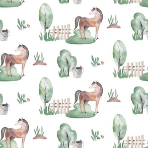 Watercolor scandinavian farm animals 2