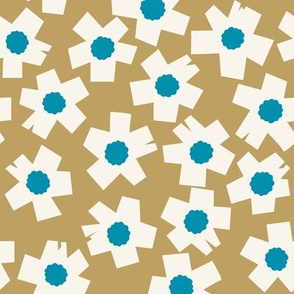 Square Flowers in gold yellow, teal blue, cream white