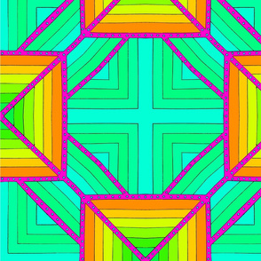 Layered Squares - Green and Orange
