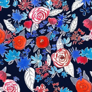 Patriotic red, white, and blue watercolor floral // navy