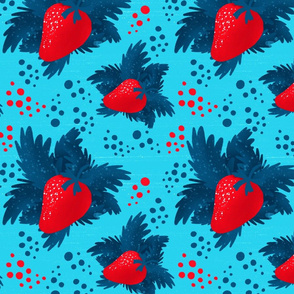 Strawberry on a blue background
