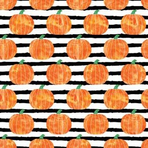 "(1"" scale) watercolor pumpkins on black stripes C19BS"