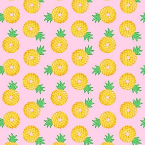 (small scale) Pineapple donuts - doughnuts - summer - pink  - LAD19BS
