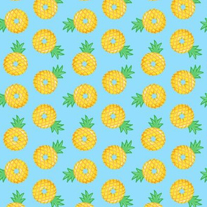 (small scale) pineapple donuts - blue - LAD19