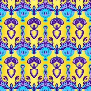 HP6 -  Hovering Alien Puppies in Purple - Lavender - Aqua - Gradient Yellow