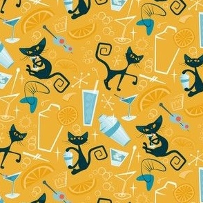 1950s Cats and cocktails-orange