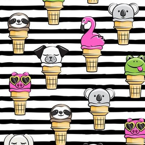 animal ice cream cones - summer fun - black stripes - LAD19