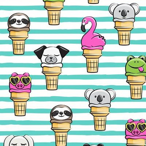 animal ice cream cones - summer fun -  teal stripes - LAD19