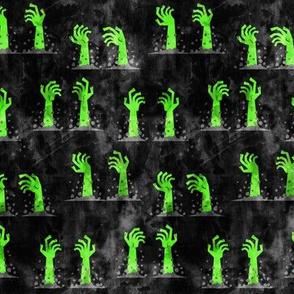 Zombie hands - halloween - green on black - LAD19