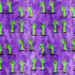 Zombie hands - halloween - green on purple - LAD19