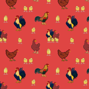 Chickens on Red