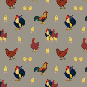 Chickens on Silver Grey