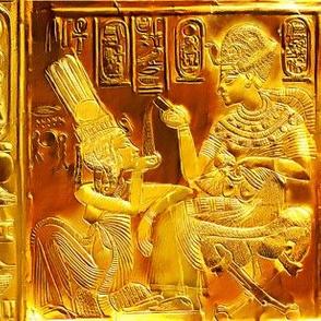 ancient egypt egyptian king tut Tutankhamun pharaoh gold Queen Ankhesenamun couple hieroglyphs husband wife scarab beetle tribal royalty yellow brown