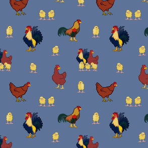Chickens on Blue